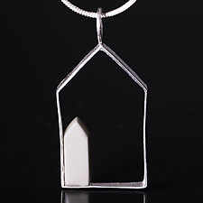 Sterling Silver House Shaped Pendant with Porcelain House by Diana Eldreth (Silver & Ceramic Necklace)