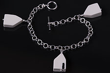 Three House Toggle Bracelet by Diana Eldreth (Silver & Ceramic Bracelet)