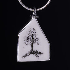 Single Tree House Pendant by Diana Eldreth (Ceramic Necklace)