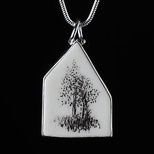 Medium Porcelain House Pendant with Two Trees by Diana Eldreth (Porcelain Necklace)