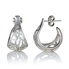 Sterling Silver Basket Hoops by Diana Eldreth (Silver Earrings)