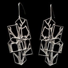 Cascading Houses with Branches by Diana Eldreth (Silver Earrings)