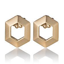 Vermeil Hexagon Earrings by Diana Eldreth (Jewelry Earrings)