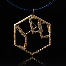 Vermeil Hexagon Pendant with Geometric Shapes by Diana Eldreth (Gold & Silver Necklace)