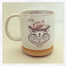 Trick or Treat Retro Cat Halloween Mug by Chris Hudson and Shelly  Hail (Ceramic Mug)