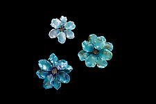 Blooming Flora - Blue Multi by Demetra Theofanous (Art Glass Wall Sculpture)