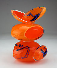 Remnant Vessel in Amber and Orange by Justin Hunting (Art Glass Sculpture)