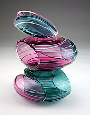 Transparent Remnant Vessel in Ruby and Teal by Justin Hunting (Art Glass Sculpture)