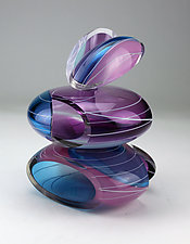 Transparent Remnant Vessel in Purple and Blue by Justin Hunting (Art Glass Sculpture)