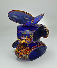 Deep Blue Remnant with Red and Yellow by Justin Hunting (Art Glass Sculpture)