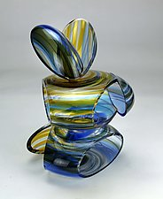 Transparent Remnant in Marine and Gold by Justin Hunting (Art Glass Sculpture)