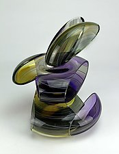 Transparent Remnant Sculpture in Purple and Gold by Justin Hunting (Art Glass Sculpture)
