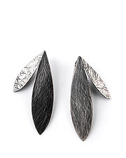 Large Double Feather Earrings by Linda Azar (Silver Earrings)