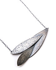 Triple Feather Horizon Necklace by Linda Azar (Silver Necklace)