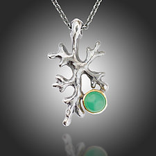 Fractal Lichen Chrysoprase Pendant by Renee Ford (Gold, Silver & Stone Necklace)