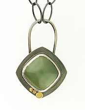 Dot Prehnite Oval Link Necklace by Renee Ford (Gold, Silver & Stone Necklace)