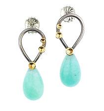 Lichen Pear Post Amazonite Earrings by Renee Ford (Gold, Silver & Stone Earrings)