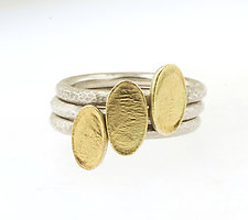 Lichen Oval Stacking Rings by Renee Ford (Gold & Silver Ring)