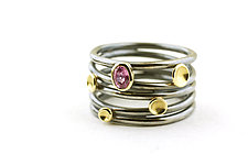 Gemstone Tornado Lichen Ring by Renee Ford (Gold, Silver & Stone Ring)