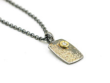 Silver and Gold Fused Lichen Diamond Pendant Rectangle by Renee Ford (Gold, Silver & Stone Necklace)