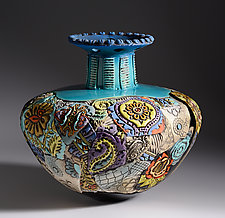 Extra Large Fluted Vessel in Blues by Gail Markiewicz (Ceramic Vessel)