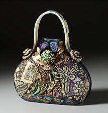 Medium Ceramic Pocketbook by Gail Markiewicz (Ceramic Sculpture)