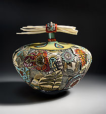 Extra Large Vessel with Porcelain Bones by Gail Markiewicz (Ceramic Vessel)