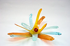Salmon, Aqua, Czar, and Saffron Lily by April Wagner (Art Glass Sculpture)