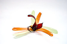 Mint, Salmon, and Red Lily by April Wagner (Art Glass Sculpture)