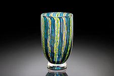Blue Zanfirico Vase by April Wagner (Art Glass Vase)