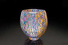 Mardis Gras Zanfirico Vase by April Wagner (Art Glass Vase)