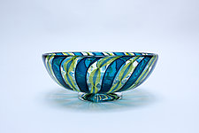 Petite Sea Green Zanfirico by April Wagner (Art Glass Bowl)