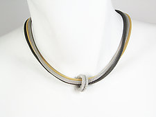 Three-Strand Mesh Necklace with Floating Mesh Ring by Erica Zap (Metal Necklace)