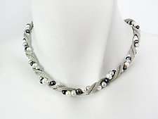 Mesh & Pearl Twist Necklace by Erica Zap (Metal & Pearl Necklace)