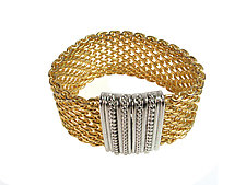 Open Weave Gold Mesh Bracelet with Rhodium Magnetic Clasp by Erica Zap (Metal Bracelet)