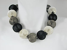 Mesh Necklace with All-Around Large Mesh Beads in Silver, Rhodium & Black Nickel Finish by Erica Zap (Metal Necklace)