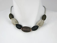 Large Oval Mesh Bead Necklace in Rhodium, Brass, Black & Copper Finish by Erica Zap (Metal Necklace)
