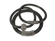 Set of Mesh Bracelets with Textured Magnetic Clasps by Erica Zap (Metal Bracelets)