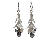 Sterling Leaf and Pearl Cluster Drop Earrings by Erica Zap (Silver & Pearl Earrings)