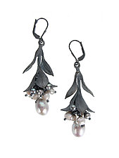 Oxidized Silver Leaf and Pearl Cluster Drop Earrings by Erica Zap (Silver & Pearl Earrings)