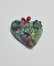 Raku Heart VI by Lilia Venier (Ceramic Wall Sculpture)