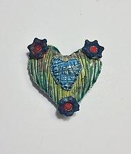 Raku Heart VII by Lilia Venier (Ceramic Wall Sculpture)