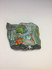 Fishes, Fishes Down by Lilia Venier (Ceramic Wall Sculpture)