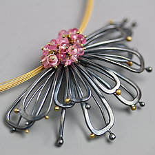 Midnight Petals and Pink Tourmaline Clusters by Wendy Stauffer (Gold, Silver & Stone Necklace)