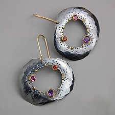 Dotted Pebble Dangle Earrings by Wendy Stauffer (Gold, Silver & Stone Earrings)