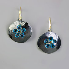 Swiss Blue Topaz Flower on Textured Pebble by Wendy Stauffer (Gold, Silver & Stone Earrings)