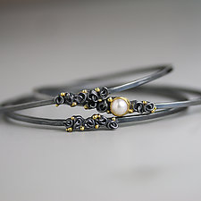 Pearl and French Knots with Dots Bangle by Wendy Stauffer (Gold, Silver & Pearl Bracelet)