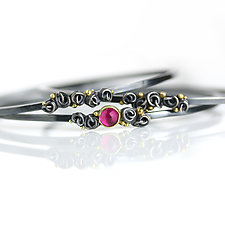 Pink Tourmaline and French Knots Bangle by Wendy Stauffer (Gold, Silver & Stone Bracelet)