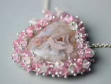 Agua Nueva Agate Necklace with Pink Tourmaline and Sapphire Fringe by Wendy Stauffer (Silver & Stone Necklace)