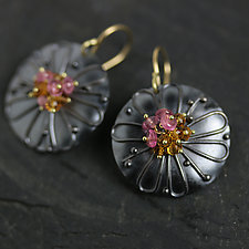 Daisy Discs with Pink Tourmaline and Spessartite Garnet Clusters by Wendy Stauffer (Gold, Silver & Stone Earrings)